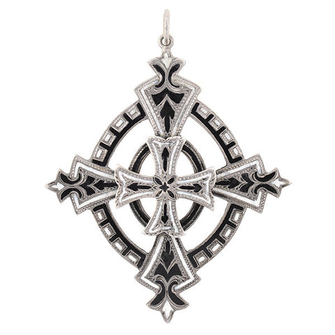 Victorian Sterling Black & White Enamel Cross Pendant