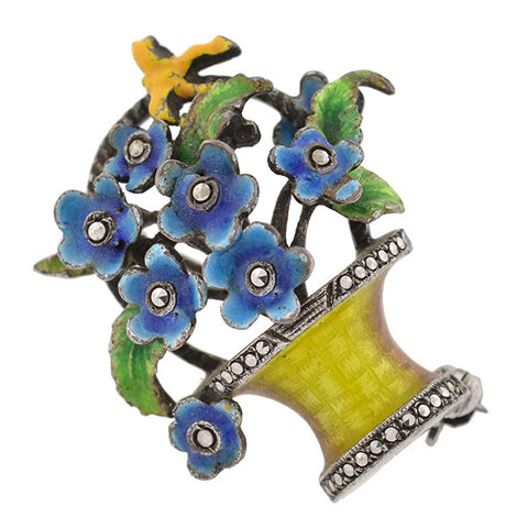 ALICE CAVINESS Art Deco Sterling Enamel Flower Pin