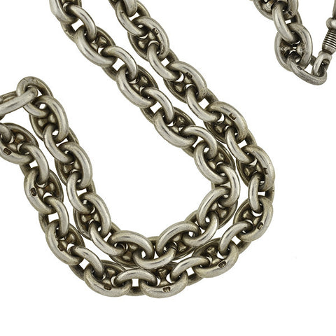 Victorian Sterling Anchor Link English Watch Chain 19""