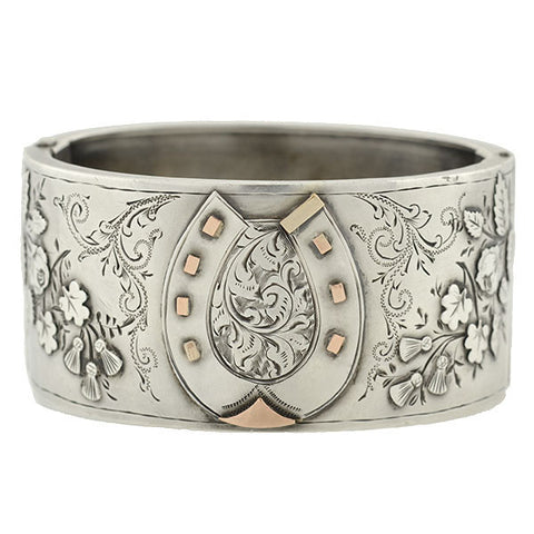 Victorian Sterling Etched Horseshoe Bangle