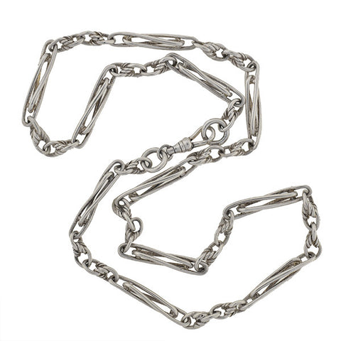 Victorian Sterling Silver Watch Chain 20.75""