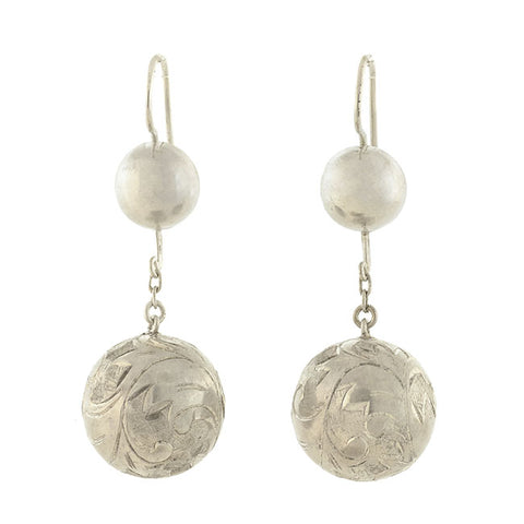 Victorian Sterling Silver Etched Ball Earrings
