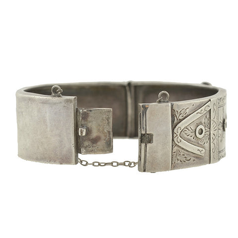 Victorian English Sterling Silver Etched Buckle Bracelet