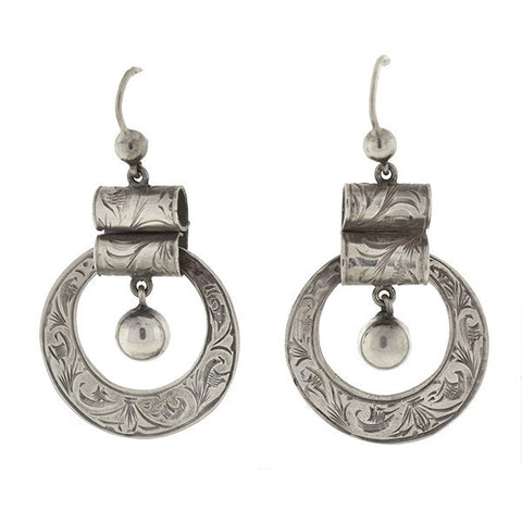 Victorian Sterling Etched Dangling Hoop Earrings