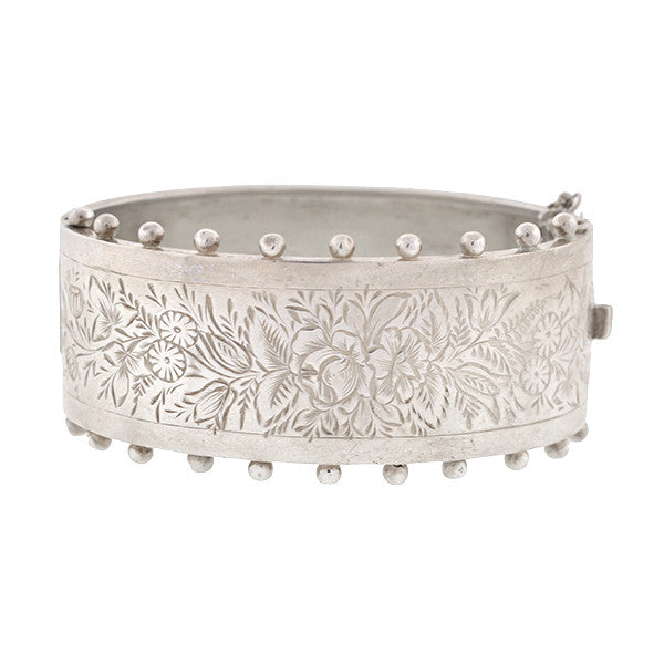 Victorian Sterling Silver Etched Hinged Bracelet