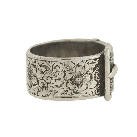 Victorian Sterling Silver Floral Etched Buckle Ring