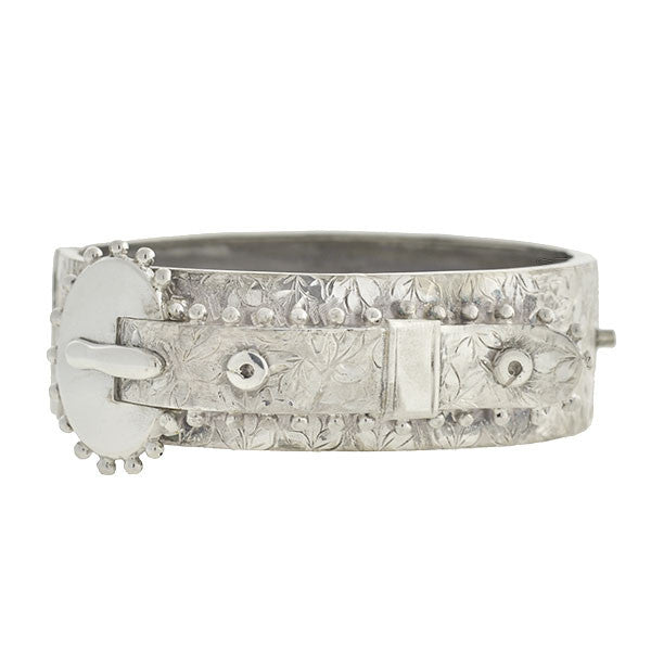 Victorian Sterling Etched Beadwork Buckle Bracelet