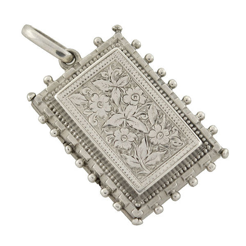 Victorian Sterling Etched Floral Beadwork Rectangular Locket