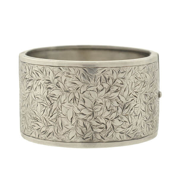 Late Victorian English Sterling Etched Leaves Wide Bangle Bracelet