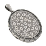 Victorian English Sterling Etched Leaf Motif Locket