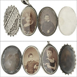 Victorian Sterling Expandable Photo Locket w/ Book Chain