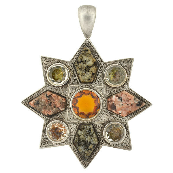 Victorian Sterling Citrine Paste & Granite Starburst Pendant
