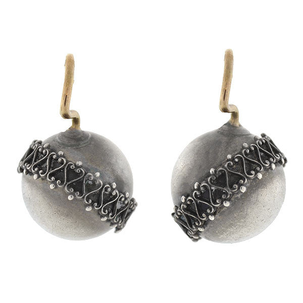 Victorian Sterling Etruscan Wirework Ball Earrings