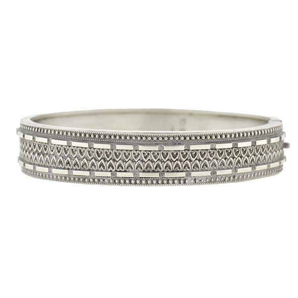 Victorian English Sterling Etruscan Bangle Bracelet