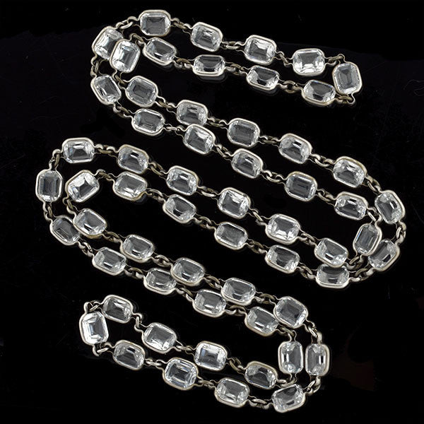 Art Deco Long Silver Faceted Crystal Necklace 43""