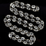 Art Deco Long Silver Faceted Crystal Necklace 43