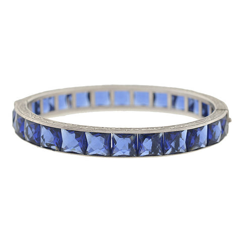 Art Deco Sterling Faux Sapphire Bangle Bracelet