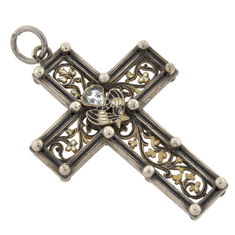 Victorian French Sterling Black Enamel Cross Pendant
