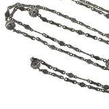 Victorian Long Sterling Filigree & Ball Link Muff Chain 52