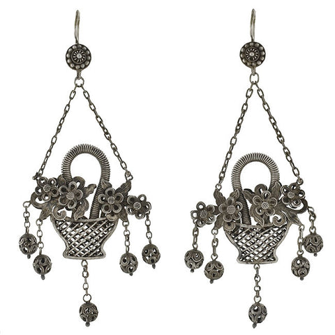 Art Deco Chinese Silver Filigree Flower Basket Earrings