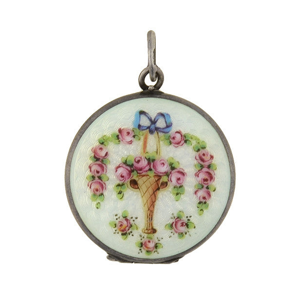 Art Deco Sterling Guilloché Enamel Flower Basket Locket