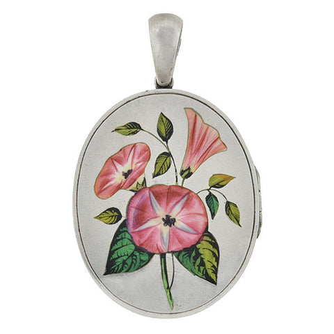 Victorian Sterling & Enamel Painted Flowers Locket