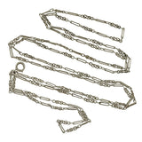 Edwardian French Sterling Silver Fancy Link Chain 56