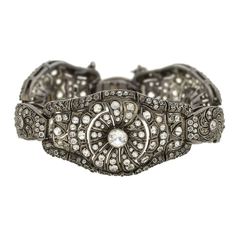 Edwardian Sterling & French Paste Flower Bracelet