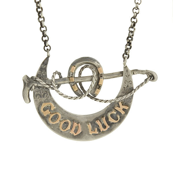 "Victorian Sterling/Rose Gold ""Good Luck"" Equestrian Necklace"