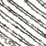 Victorian Long Sterling Silver & Garnet Chain 60