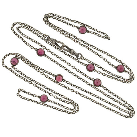 Victorian Long Sterling & Garnet Cabochon Chain 49""