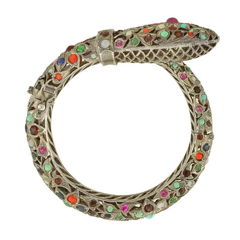 Estate Silver Multi Stone Hinged Snake Bracelet