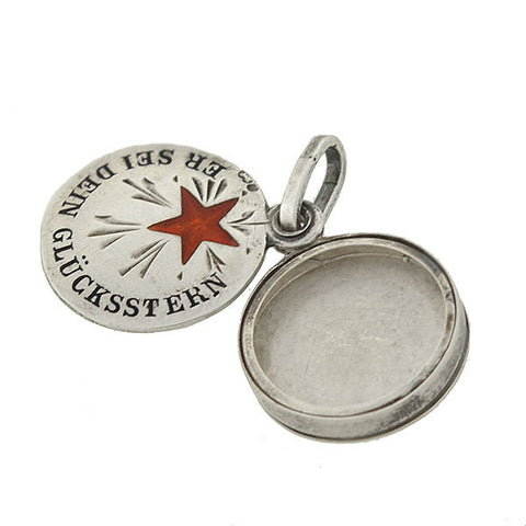 "Late Victorian Austrian Silver & Enamel ""Lucky Star"" Slide Locket"