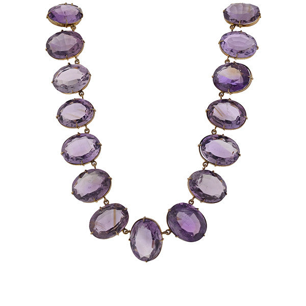 Victorian Sterling Gilt & Amethyst Necklace