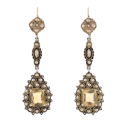 FAHRNER Art Deco Sterling Gilt Citrine & Marcasite Earrings