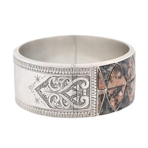 Victorian Sterling Silver Inlaid Granite Bangle Bracelet
