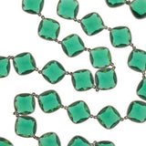 Art Deco Long Sterling & Green Crystal Necklace 36
