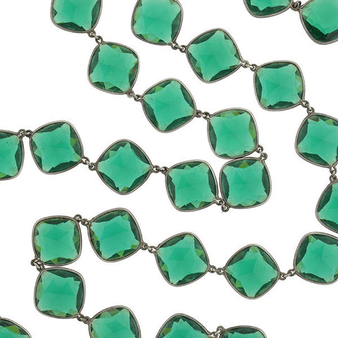 Art Deco Long Sterling & Green Crystal Necklace 36""