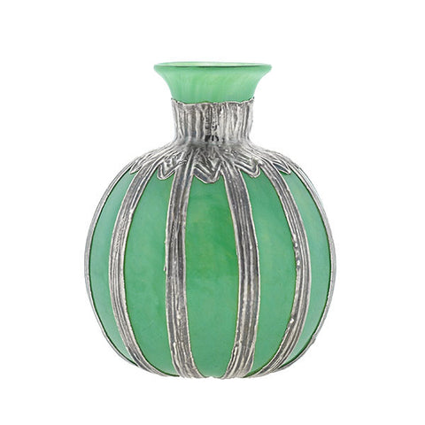 Edwardian Sterling Silver & Green Glass Decorative Vase