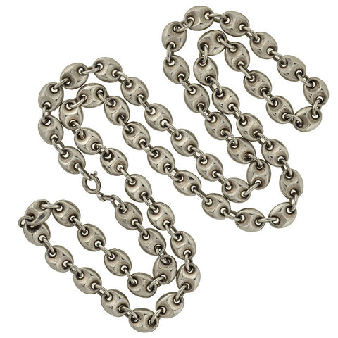 "Vintage Sterling ""Gucci Style"" Anchor Link Chain Necklace"