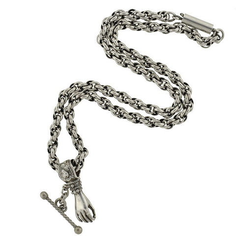 Victorian Sterling Hand Pendant & Chain Necklace
