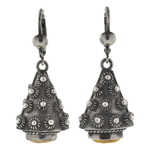Retro Silver & Citrine Hand Wrought Earrings