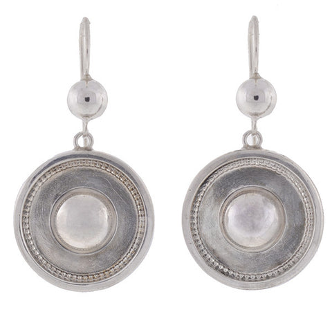 Victorian Sterling Silver Hanging Circle Earrings
