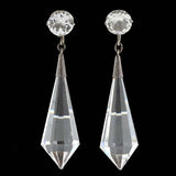 Art Deco Sterling Rock Quartz Crystal & Paste Earrings