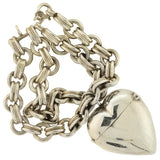 Victorian Sterling Puffy Heart Match Safe Locket Bracelet
