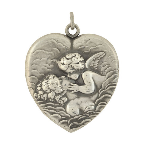 "UNGER BROS. Art Nouveau Sterling ""Love's Dream"" Heart Locket"