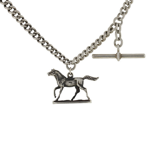 Victorian Sterling Horse Fob & Watch Chain Necklace