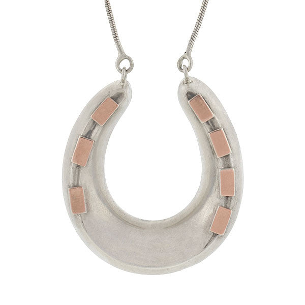 Victorian Sterling Silver & Rose Gold Horseshoe Necklace