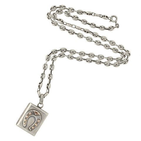 Victorian Sterling Horseshoe Locket & Vintage Anchor Link Chain