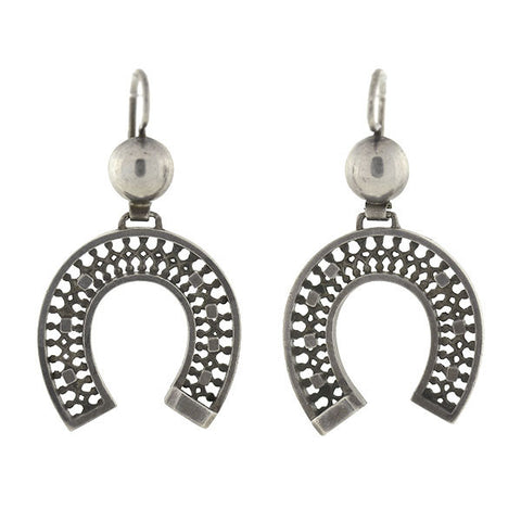 Victorian English Sterling Filigree Horseshoe Earrings